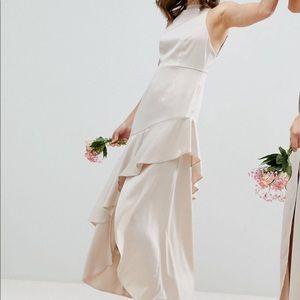 NWT ASOS Champagne Hi-Lo Bridesmaid Dress